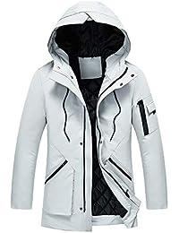 LETTER Abrigo Impermeable para Hombre Moda otoño Invierno Casual botón de Bolsillo con Cremallera con Capucha térmica Capa Superior