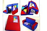 Spielsofa 4in1 Kindersofa Spielmatraze für das Kinderzimmer Spielpolster Softsofa blau/rot Puzzle Kinderzimmersofa Spieltisch Kindermöbel
