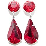 End of line clearance. 925 Silver stud drop earrings handmade with Light Siam and Siam Red crystal from SWAROVSKI®.