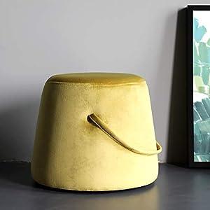 MLXG Moderne Samt Sitzhocker Mit Griff,weich Klein Gepolstert Fußablage,runde Nachhaltige Fußhocker Bank Hocker Gepolsterter Sitz Leicht Zu Tragen Gelb