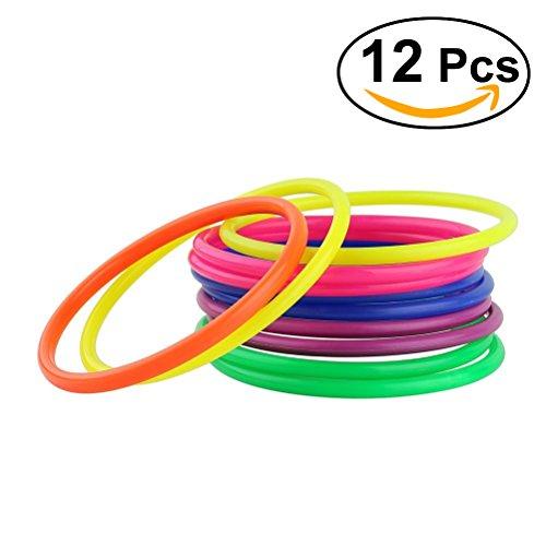 TOYMYTOY Los colores clasificados 12PCS tiran los anillos para los juegos al aire libre del patio trasero del jardín del carnaval