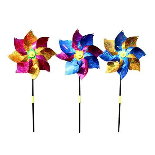 Yardwe 12 Stücke Kunststoff Windrad Windmühle Bunte Wind Spinner Kinder Spielzeug Garten Rasen Party Dekoration (Zufällige Farbe) -