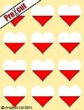 12 x precortado pabellón polaco arroz comestible del corazón/de la oblea de primeros de la torta de la decoración de la fiesta de cumpleaños