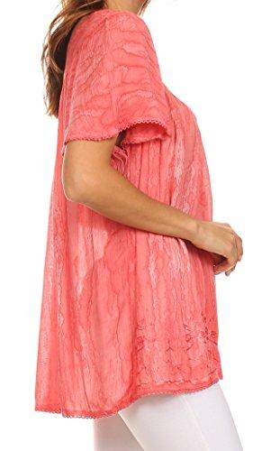 Sakkas Elaine bestickte Batik Rundhals entspannt Fit Flutter ärmel Bluse Rosa