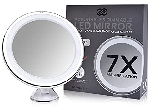 Sanheshun Dimmable Makeup Mirror 7X Magnifying Lighted Compact Mirror with Suction Base , Round