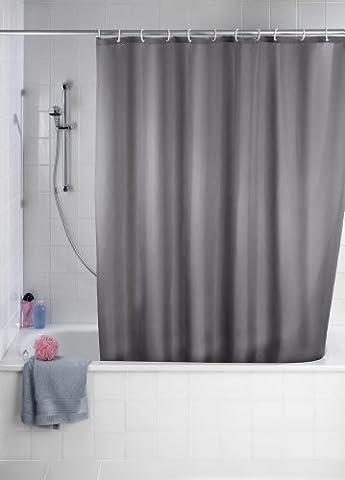Wenko Anti-Schimmel Duschvorhang Uni Grey, Anti-bakterieller Vorhang für die Dusche inkl. 12 Duschvorhangringen, Blickdichter Vorhang in Grau - aus 100% Polyester, 180 x