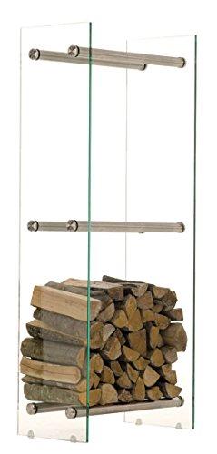 CLP Edelstahl Kaminholz-Ständer DACIO, klarglas, 12 mm Sicherheitsglas, bis zu 21 Größen wählbar 35 x 50 x 160 cm (T x B x H)