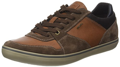 Geox Men's U Box A Fashion Sneaker, Ebony/Brown, 11 UK