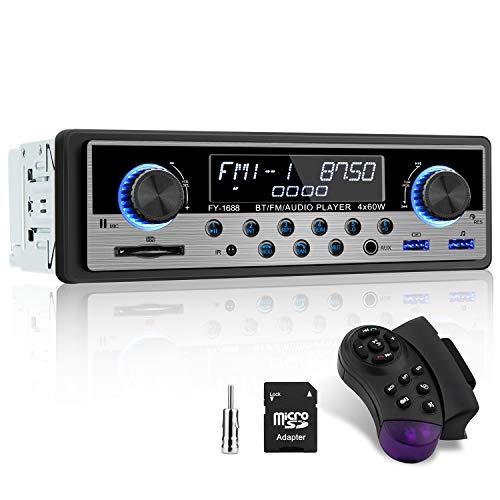 Autoradio mit Bluetooth Freisprecheinrichtung, Bluetooth Autoradio 1 din mit FM/AM/RDS, Auto Radio 2 USB/MP3/ AUX/TF/SD, Fernbedienung, Antenne Adapter und SD-Kartenhalter inkl.