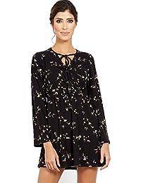 d7007fb458b6 Blue Vanilla Floral Print V Neck Long Sleeve Black Dress