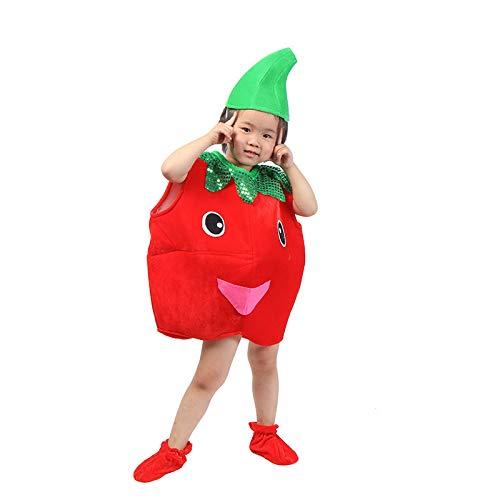(Kinder Obst Gemüse Kostüme Kinder Tomate Party Kleidung Kostüme für Halloween Cosplay Weihnachtsferien Kleinkind Jungen Mädchen)