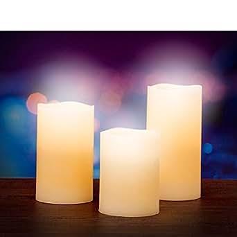 bitblin Blow EmotiCandle bougies avec capteur de Soufflement et Aroma à vanille, beige, 14.5x 7cm, Lot de 3