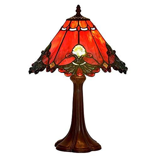 Bieye l30021us lampada da tavolo in vetro colorato in stile tiffany barocco lampada da notte con 13 pollici ampia lampada fatta a mano paralume base in zinco per comodino camera da letto soggiorno