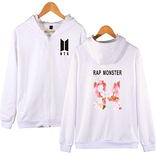 SIMYJOY BTS Fans Felpa Zip con cappuccio KPOP Pullover Hip Hop Felpa per Uomo Donna Adolescente bianca-94j