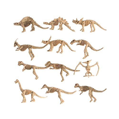 Amosfun 24 STÜCKE Simulation Dinosaurier Skeleton Dekoration Mini Kunststoff Kleine Dinosaurier Modell für Kinder Puzzle Wissenschaftsunterricht Spielzeug, Halloween Party Decor - Stück Dinosaurier-puzzle 24