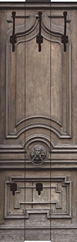 Artland Wand-Garderobe mit Motiv 3 Holz-Paneele mit gusseisernen Haken Teodora_D Alte, massive Tür Architektur Fenster & Türen Fotografie Braun 140 x 45 x 2,8 cm A7NA