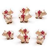10 Stück kleine rosa rosa-rot Mini-Figur Glücksschwein Schweinchen Schwein aus Poly; Glücksbringer Talismann 3 cm Tischdeko Geburtstag Hochzeit Silvester Neujahr Mini-Schwein Schleife gepunktet