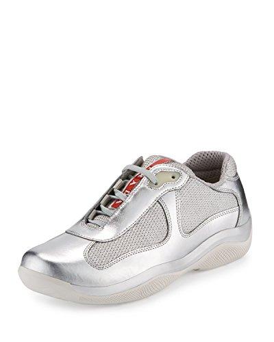 Prada America's Cup Herren Sneaker, Kalbsleder, Metallic, Silber-Metallic (Argento), Silber (Silver-metallic (Argento)), 44 EU