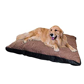 ANZ GLOBAL - Soft Quilted Dog Bed - Durable Non-Slip Backing - Hygienic & Easy To Care - 89cm x 64cm (Brown)