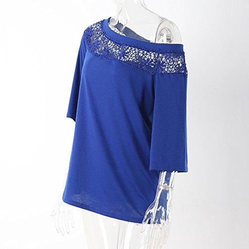 Merletti la camicia diagonale della spalla, Longra Donna Il cotone quotidiano merletta in su la camicia diagonale del manicotto dell'arpa della spalla Blu