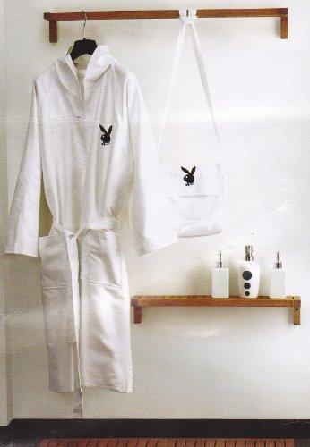 (Playboy Bademantel + Tasche, Kimono Sauna Bad weiß L oder XL oder pink Größe S der XL NEU)