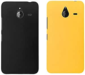 Universal Deals uni001 Combo of 2 Back Covers for Microsoft Lumia 640 XL (Black and Yellow)