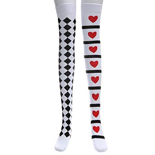 Hffan Halloween Fröhliches Coole Zauberer Spielkarten Herz-Muster Asymmetrie Sexy Strümpfe Tanzparty Socken Streich Spaß Lustig Make-up Tanzparty(Weiß-A,One size)