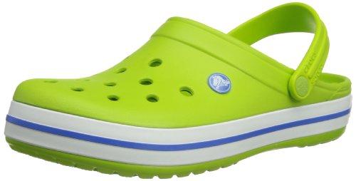 Crocs Crocband, Unisex - Erwachsene Clogs, Grün (Volt Green/Varsity Blue), 46-47 EU (Herren-casual-comfort-clogs)