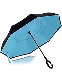 SHREVI IMPEX Umbrella Windproof, Reverse Umbrella, Umbrellas for Women with UV Protection, Upside Down Umbrella with C-Shaped Handle [Multi Color