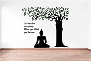 Rawpockets Decals 'Lord Buddha Under Tree and Quote on Mind' Wall Sticker - (PVC Vinyl, 110 cm x 95 cm, Multicolour) (RPC1092)