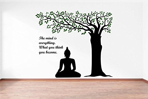 Rawpockets Decals 'Lord Buddha under Tree and Quote on Mind' Wall Sticker...