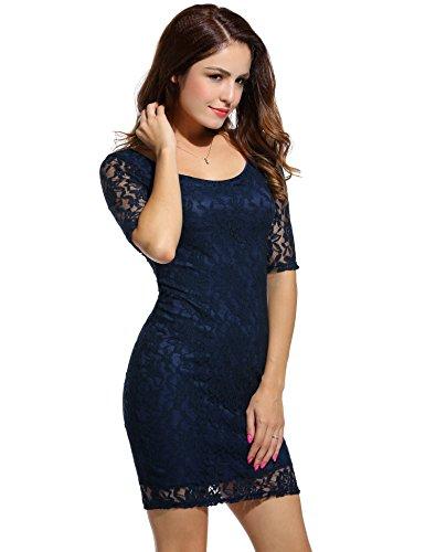 ANGVNS Damen Rundhals-Ausschnitt Spitzenkleid Floral Slim Fit Kurz Cocktailkleid Abendkleid Parykleid Blau L 40 -