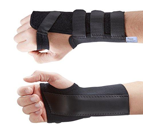 Actesso Handgelenkbandage Handgelenkschiene für Karpaltunnelsyndrom, Zerrungen und Verstauchungen - Schwarz Elastich . Medizinisch bewährt (Groß, Links (18-20 cm))