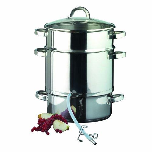 axentia Dampfentsafter induktionsgeeignet mit Glasdeckel silber, pflegeleichter Entsafter aus Edelstahl 201 mit 8 Liter Volumen spülmaschinengeeignet Ø 25 cm mit Wasserbehälter ca. 3 Liter skaliert
