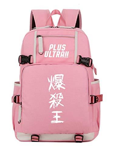 Cosstars My Hero Academia Anime Leuchtend Backpack Schüler Schultasche Laptop Rucksäcke Freizeittasche Daypack Pink/Leuchtend 2