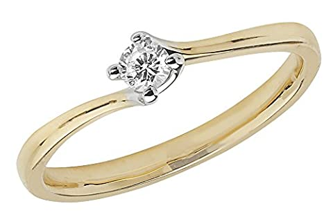 Diamant Twist Solitaire Ring 9 ct Gelb Gold