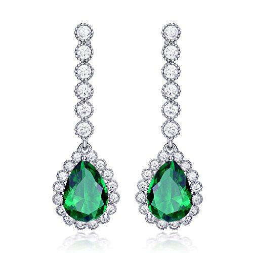 GULICX Tropfen Grün Zirkonia Brautjungfer Smaragd Farbe Ohrringe Silber-Ton Hochzeit Ohrhänger (Braut Der Mutter Kleid Anspruchsvolle)