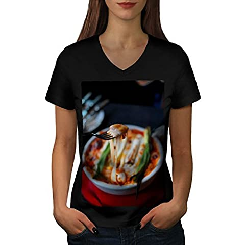 Pasta Recipe Kitchen Food Women M V-Neck T-shirt | Wellcoda