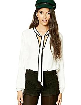 Yuncai Mujer Casual Gasa Manga Larga V-cuello Blusas Camisas