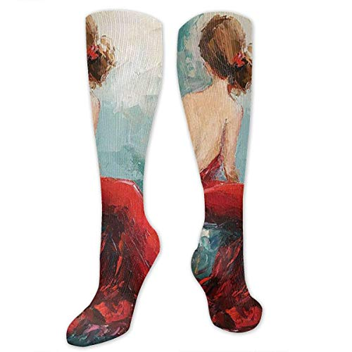 Apron bags Knee High Socks Beauty with Red Dress Sexy Women Knee High Compression Stockings Athletic Socks Personalized Gift Socks for Men Women Teens Girls
