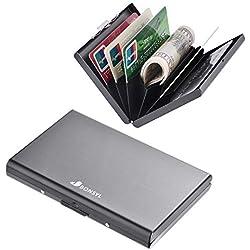 Porte-Carte de Crédit, Portefeuille de Carte de Crédit en Métal en Métal pour Hommes et Femmes, avec Protection RFID et NFC Contre le vol de Données pour 6 Cartes. (Noir)