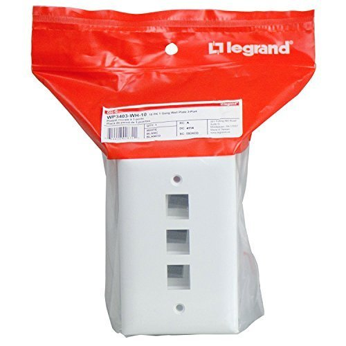 On-Q/Legrand WP3403WH10 3 Port Contractor Single Gang Wall Plate (Pack of 10), White by On-Q/Legrand Gang Wall Plate 3 Port
