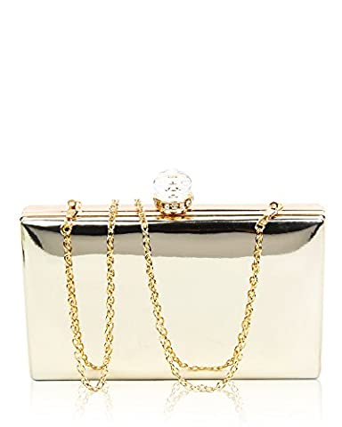 Women's Evening Clutch Bag / Wedding Shiny Leather Cover Hardcase With Diamante Crystal Stone Clasp Dimensions 20x12x4.5cm