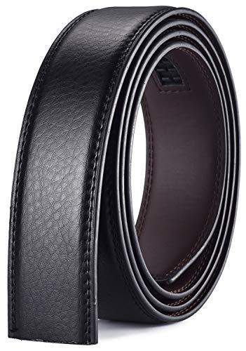 Xhtang Cinturón sin Hebilla Para Hombres, Cinturón Para Cinturón Automático de Ancho 3.5, Negro Marrón Blanco Azul (Longitud del Cinturón:49.21' (125 cm), A-Negro.200)