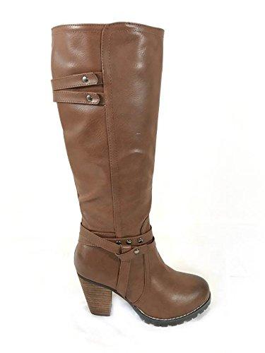 Mesdames Femmes Mid talon bloc Basse Mollet Genou Haut à fermeture éclair équitation Bottes Chaussures - Brown (1255)