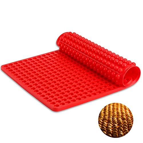 SveBake Silikon Backmatte - Dauerbackmatte mit Noppenstruktur Antihaftbeschichtung Backblech Backpapie 468er Hundekekse Hundeleckerlies, 40x29cm, Ø1,2cm Halbkugel, Rot