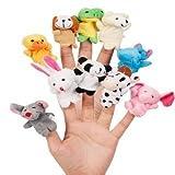 Cartoon Animal Finger Puppets Plush Toys Children Favor Dolls 10 Pcs