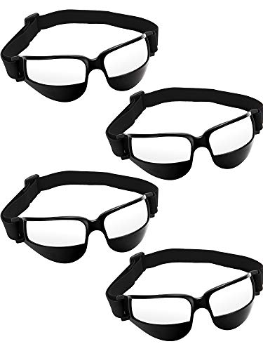 Patelai 4 Stück Basketball Dribble Brille Dribbling Spezifikationen Sportbrillen für Basketball Trainingshilfen, Schwarz (Brille Basketball)