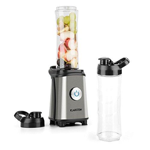 Klarstein Tuttifrutti Mini-Mixer batidora (350 W, Cuchillas en Cruz Acero Inoxidable, 2 recipientes de 600 ml sin BPA, 2 Tapas para los Vasos, Compacto) - Plateado
