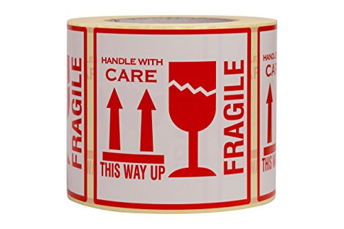"500 Aufkleber""Fragile. This Way Up. Handle With Care"", Etiketten, groß 10 x 10 CM White-red - 500 Stück"